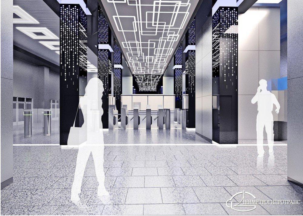 Станцию метро «Говорово» отделали в виде светящегося лабиринта