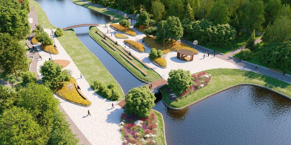 Как оборудуют главный вход парка в пойме реки Битца
