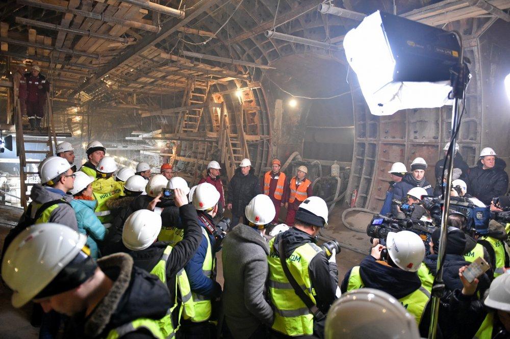 Собянин сообщил о готовности конструкций на станции БКЛ «Савеловская»